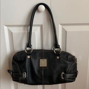 Black Leather Tignanello Shoulder Bag--EUC
